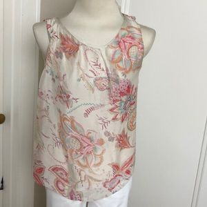 Floral silk sleeveless top Size S
